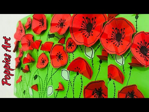 Easy craft for kids/ Poppies Art/How to make paper poppies