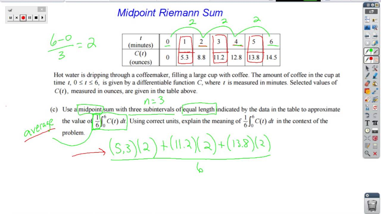 Midpoint Riemann Sums Youtube