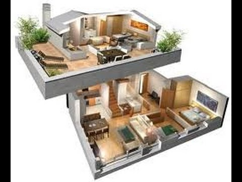 Planos de casas en 3d de dos plantas youtube for Planos de casas de un piso gratis