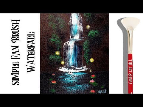 Easy waterfall Acrylic painting Technique with a Fan Brush