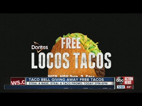 TODAY: Taco Bell is giving away FREE TACOS as part of their Steal A Base, Steal A Taco Promo