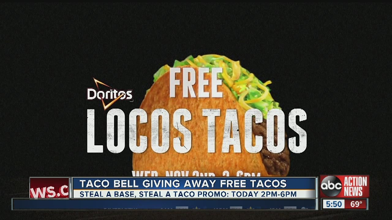 Today Taco Bell Is Giving Away Free Tacos As Part Of Their Steal A Base Steal A Taco Promo