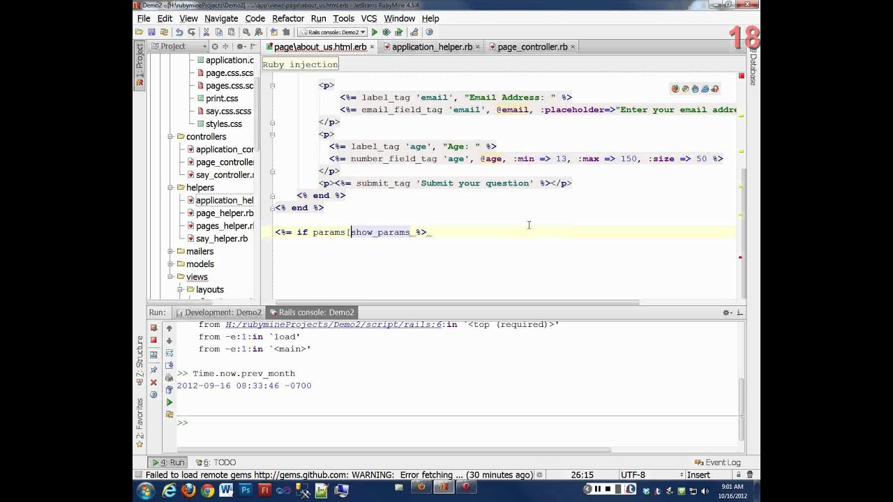 Day 11 - Ruby on Rails 3 - More form input tags