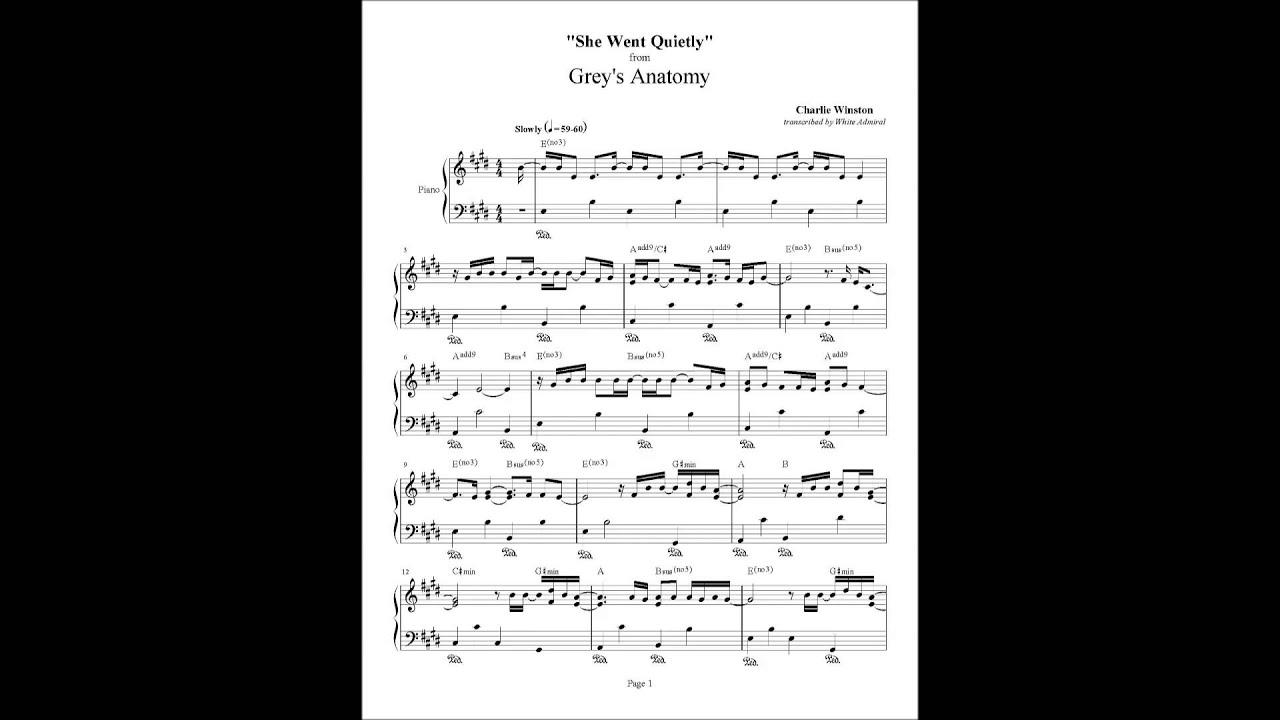 Grey\'s Anatomy She Went Quietlly Piano arrangement 1 Charlie Wilson ...