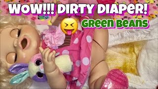 Baby Alive Gracie has a GROSS DIRTY DIAPER feeding GREEN BEANS