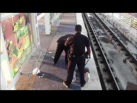 POLICE BRUTALITY - Psycho Houston Cops Caught Beating Homeless Man At Rail Station