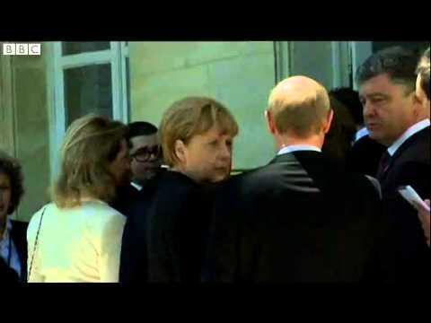 Vladimir Putin meets Petro Poroshenko in France