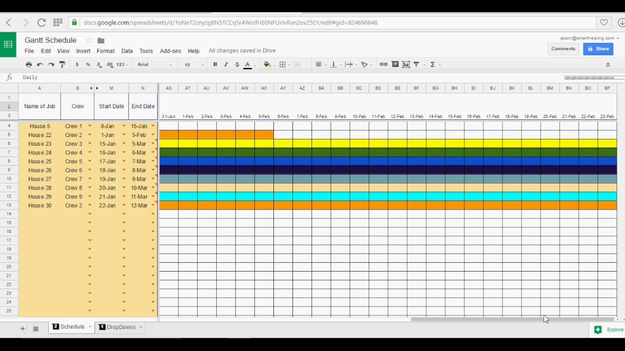 Google Sheets Gantt Chart