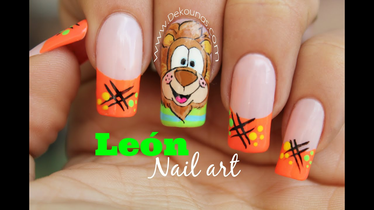 Decoraci n de u as caricatura leon lion nail art youtube - Decoracion de unas ...