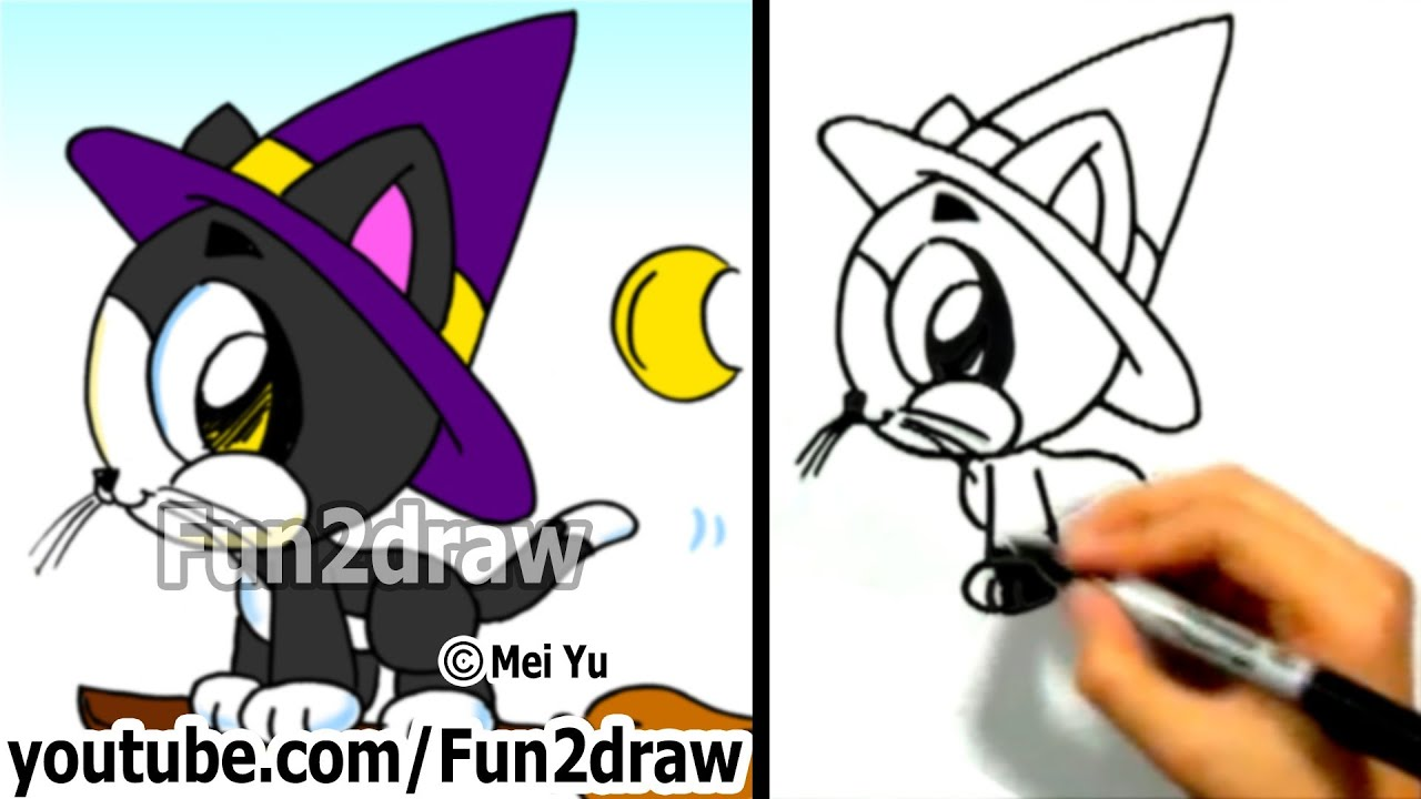 How to Draw a Cat , Cute Kitty , Halloween Witch Cat , Fun2draw Easy  Drawing Tutorials