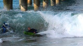March 19, 2015 - Manhattan Beach Pier bodyboarding and surfing