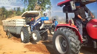 Fully Loaded Trolley Stucked   Rescue With Arjun 555 Power Plus & New Holland 3630 SE