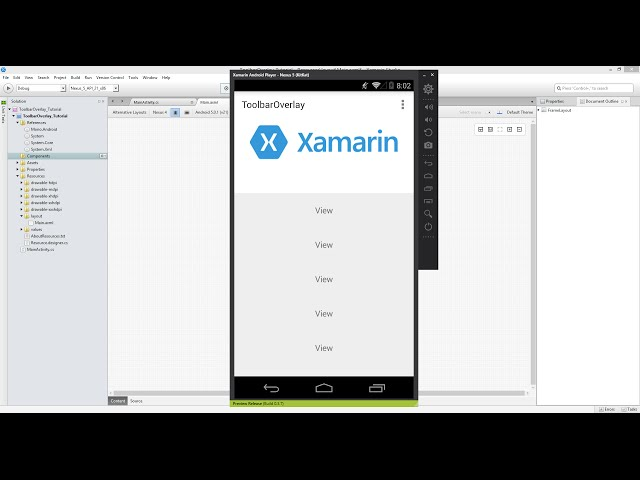 Xamarin Android Tutorial   54   Overlaying Toolbar