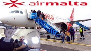 Air Malta BUSINESS CLASS London to Malta Airbus A320-200