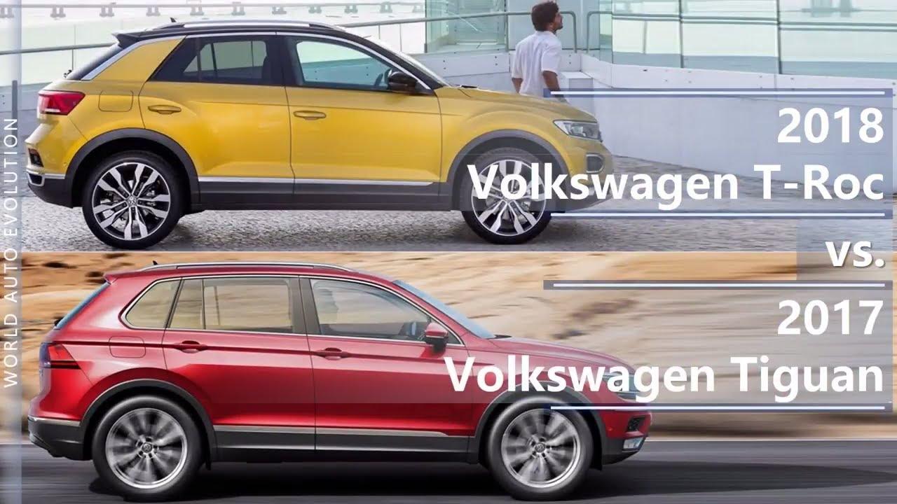 2018 volkswagen t roc vs 2017 volkswagen tiguan technical comparison youtube. Black Bedroom Furniture Sets. Home Design Ideas