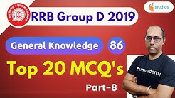 7:00 PM - RRB Group D 2019 | GK by Rohit Baba Sir | Top 20 GK MCQ's | Part-8