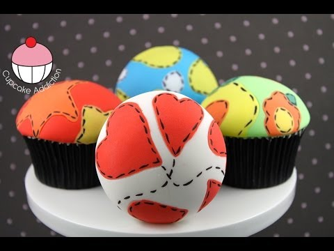 Make Fondant Patchwork Cupcakes - Easy Sugar Fabric Technique by Cupcake Addiction