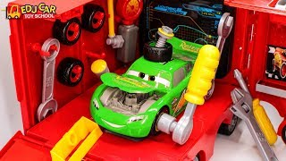 Learning Color Green Disney Cars Lightning McQueen repair Play for kids car toys