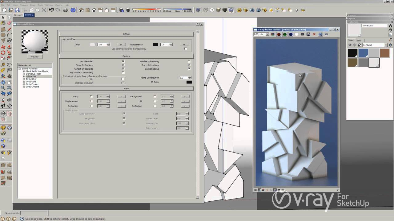 V-Ray for SketchUp - Use V-Ray dirt to add an antique ...