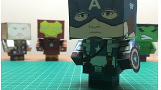 How to make a Captain America Papercraft - cubeecraft (free template)