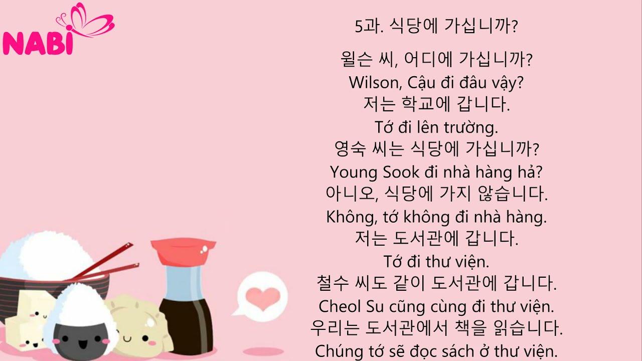 🦋[Mẫu hội thoại giao tiếp tiếng hàn căn bản Hàn - Việt] PHẦN 1🦋 Bài 5🦋