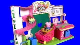 Peppa Pig at Shopkins Supermarket Cash Register Store with Disney Princess Sofia Play Doh