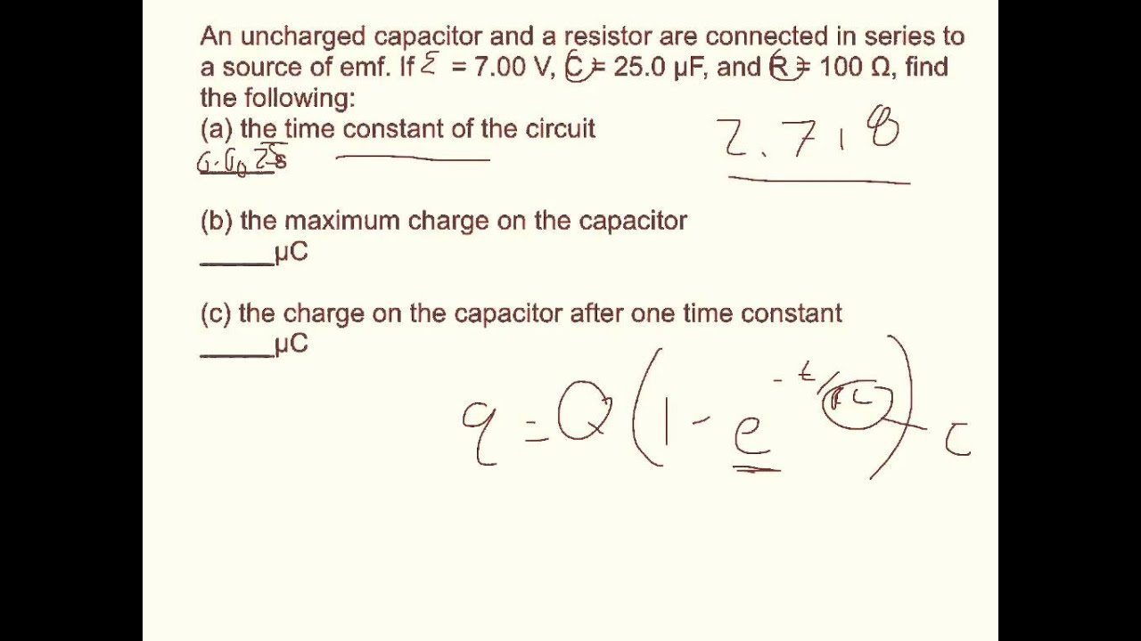 And Circuit Current During Capacitor Discharge Are Shown Below Physics Webassign Ch18 10 Youtube
