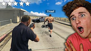 Playing GTA 5 As The POLICE In A 5 Star Chase.. (Mods)