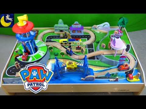 Thumbnail: Paw Patrol Adventure Bay Play Table Look Out Tower Pups Kidcraft Wooden Train Tracks Table Playset