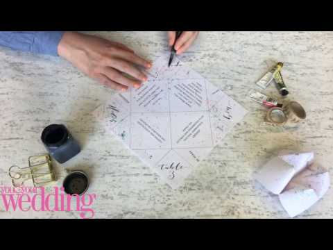 DIY BRIDE: make a wedding invite/menu into a fortune teller