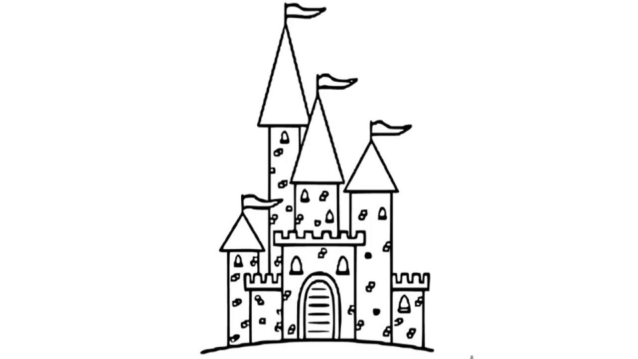 How to draw Castle pencil drawing for kids step by step