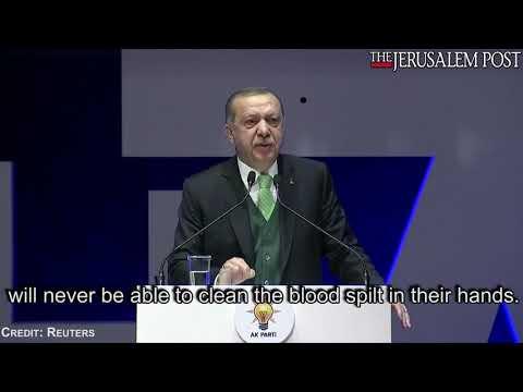 Turkey's Erdogan says US is a partner in bloodshed with Jerusalem move, December 11, 2017.
