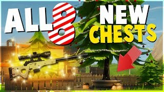 ALL 8 NEW CHEST and Tree Locations (Fortnite Battle Royale Christmas Update) | Tips and Tricks