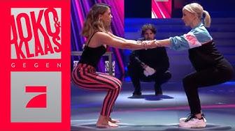 Vanessa Mai & Janin Ullman: Partner-Squats beim Aussitzen | Spiel 2 | Joko & Klaas gegen ProSieben