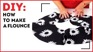 DIY: How to make a flounce. Making a cambric lining for a flounce on a skirt. Sewing tutorial.
