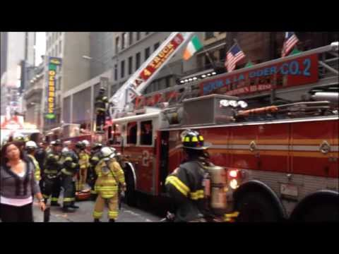 FDNY BATTLING 2 ALARM FIRE AT THE WORLD FAMOUS CONNOLLY'S PUB ON W. 45TH ST. IN MIDTOWN, MANHATTAN.
