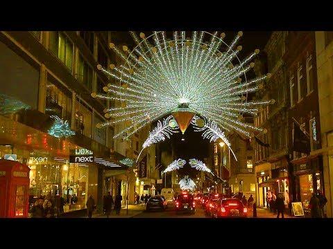 London Walk - Bond Street Christmas Lights and Xmas Window Displays - England, UK