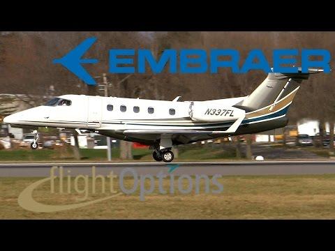 HD Flight Options Embraer Phenom 300 N337FL Landing at Albany International Airport