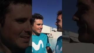 Javier Gómez Noya -Carlos Antequera  saludando al Triatlón Manzanares