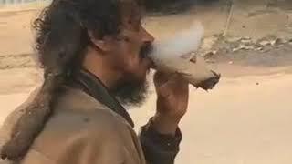 Jamaica rasta man smoking brown paper wee
