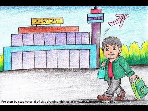 How To Draw A Traveller Outside Airport Step By Step Very Easy