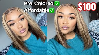 BOMB Affordable Pre Colored Brown & Blonde  Highlights| $100 Wig| NABEAUTYHAIR.COM