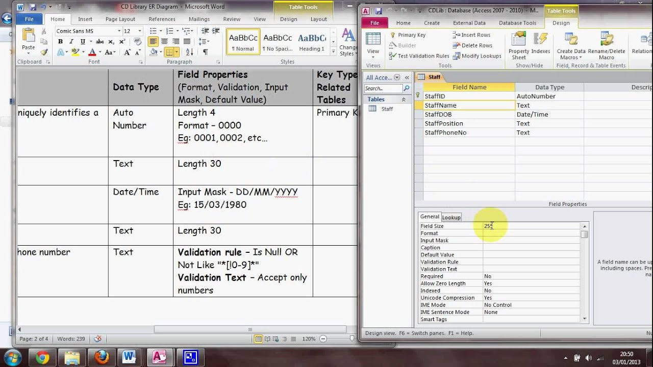 Create tables in access 2010 youtube for Table design view in access 2010