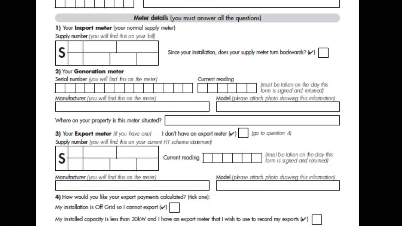 How To Fill Out The Feed In Tariff Application Form