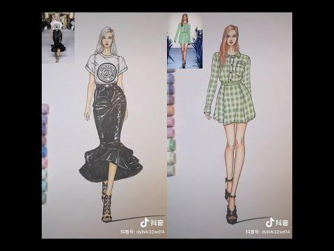 Tik tok🙆🏻♀️❤học vẽ thiết kế thời trang 😘💕💓