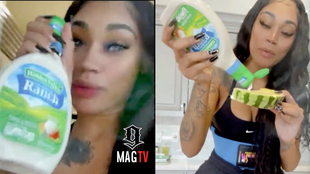 """NBA Youngboy """"BM"""" Jania Puts Ranch Dressing On Her Watermelon! 🤮"""