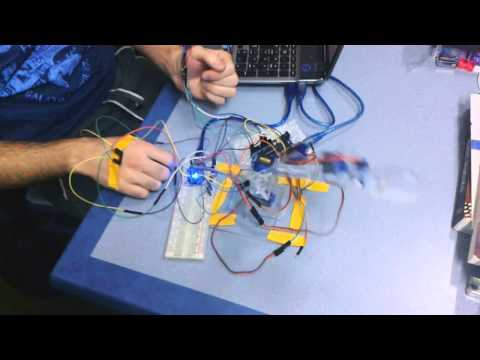 Hand Gesture controlled robot with Sound activated light