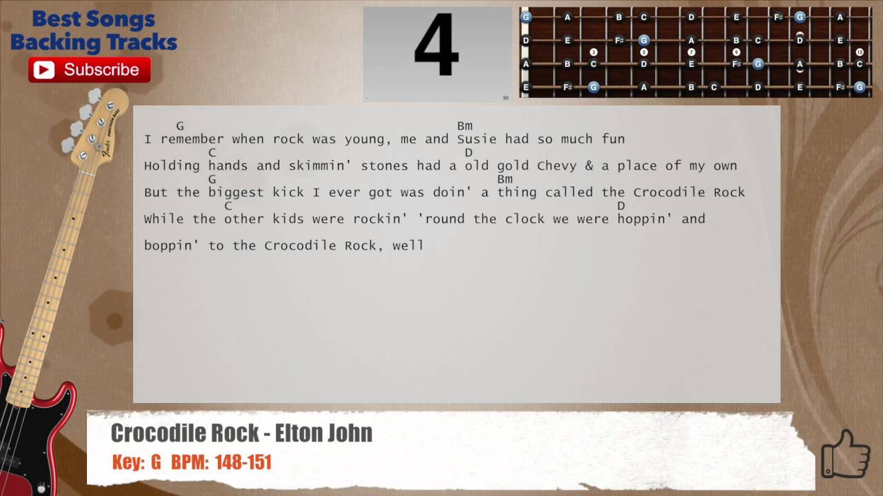 Crocodile Rock Elton John Bass Backing Track With Chords And