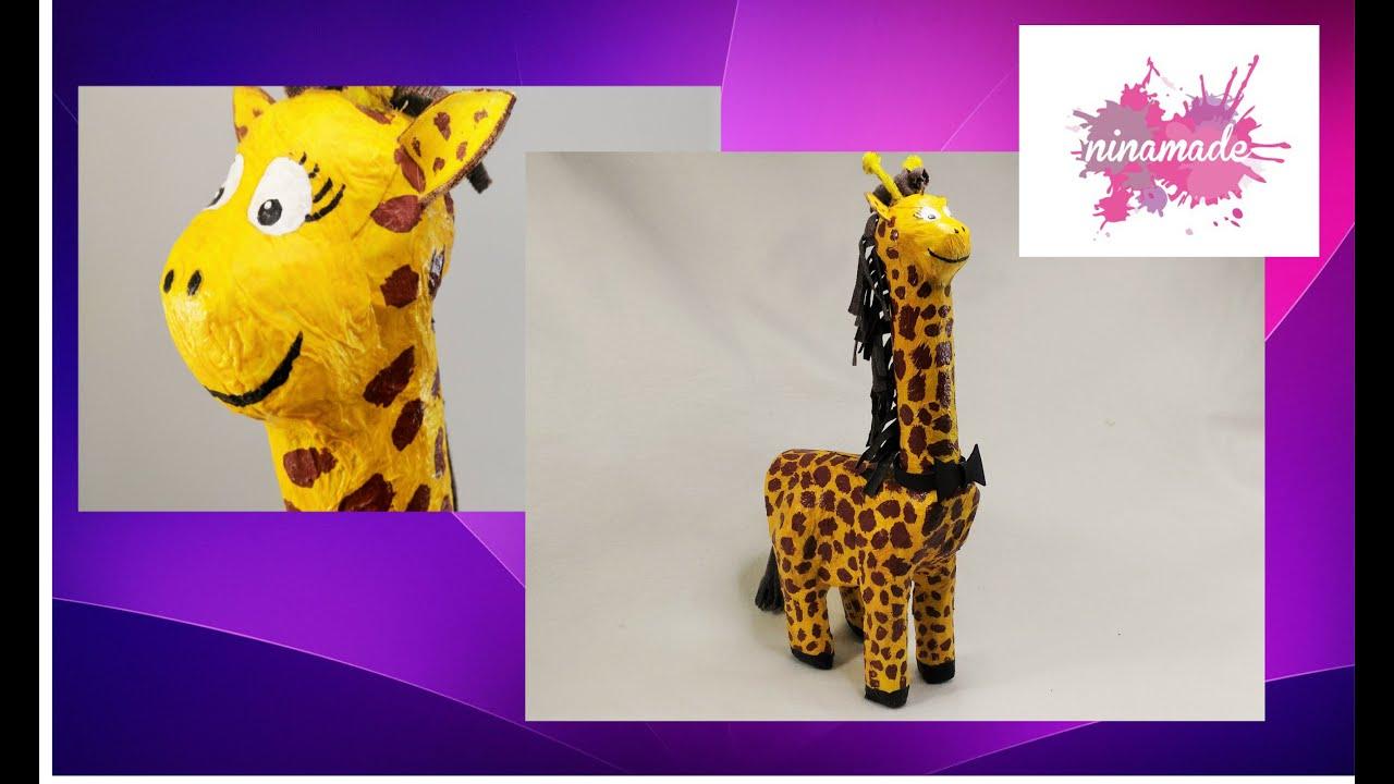Diy como hacer una hucha jirafa actividad para ni os for Como hacer una pileta de material paso a paso