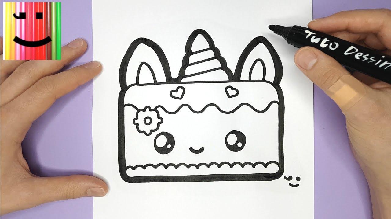 Comment Dessiner Et Colorier Un Gâteau Licorne Trop Mignon